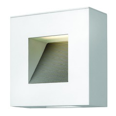 Modern Outdoor Wall Light with Etched in Satin White Finish