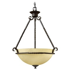 Hinkley Lighting Casa Olde Black LED Pendant Light with Bowl / Dome Shade