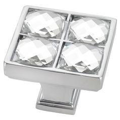 Chrome Crystal Square Cabinet Knob - Case Pack of 10 - 1-1/4-inch