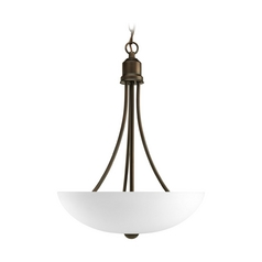 Progress Lighting Progress Pendant Light with White Glass in Antique Bronze Finish P3914-20