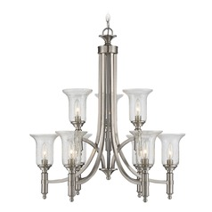 Seeded Glass Chandelier Satin Nickel Savoy House