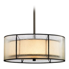 Seeded Glass Drum Pendant Light Bronze Elk Lighting