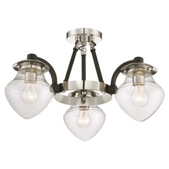 Mid-Century Modern Semi-Flushmount Light Polished Nickel W/Black The Cape by Minka Lavery