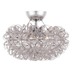 Modern Semi-Flushmount Light Polished Chrome Platinum Collection Pageant by Quoizel Lighting