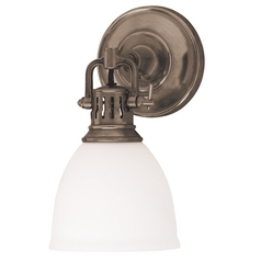 Sconce Wall Light with White Glass in Historic Bronze Finish