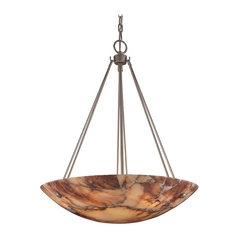 Pendant Light with Alabaster Glass in Matte Nickel Finish