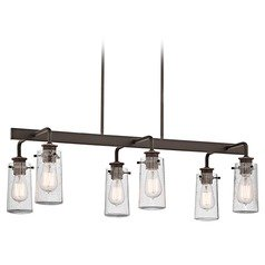 Kichler Linear Chandelier with Clear Glass in Olde Bronze