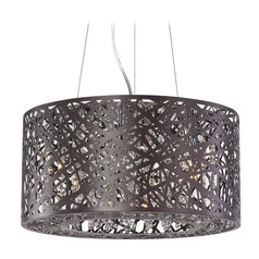 Inca Bronze Pendant Light with Drum Shade