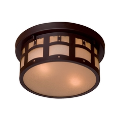 Close To Ceiling Light with Beige / Cream Glass in Dorian Bronze Finish