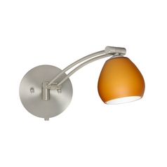 Modern Swing Arm Lamp with Amber Glass in Satin Nickel Finish