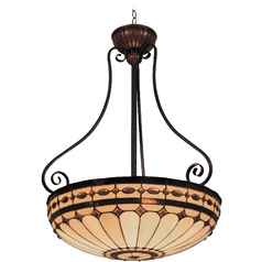 Elk Lighting Pendant Light with Multi-Color Glass in Burnished Copper Finish 642-BC