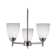Mini-Chandelier with Art Glass in Polished Chrome Finish