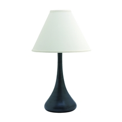 Table Lamp with White Shade in Black Matte Finish