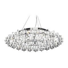 Modern Pendant Light with Clear Glass in Polished Chrome Finish
