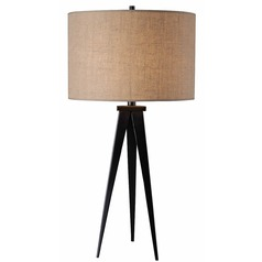 Modern Table Lamp with Brown Shade in Oil Rubbed Bronze Finish