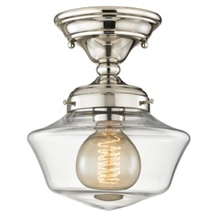 8-Inch Clear Glass Schoolhouse Semi-Flush Ceiling Light