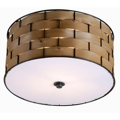 Kenroy Home Shaker Dark Woven Wood Flushmount Light