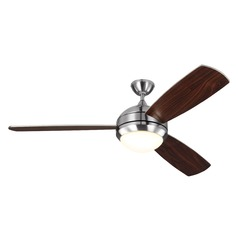 Monte Carlo Discus Trio Max Brushed Steel LED Ceiling Fan with Light