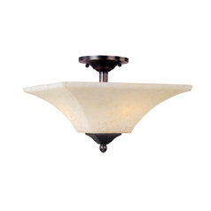 Semi-Flushmount Light with White Glass in Heirloom Brass Finish