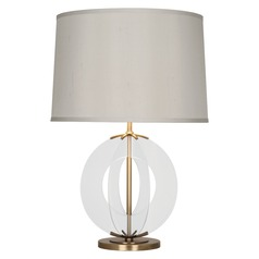 Robert Abbey Latitude Aged Brass / Clear Glass Panels Table Lamp with Drum Shade