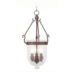 Seeded Glass Pendant Light Bronze Livex Lighting