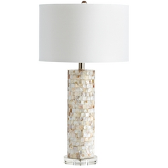 Cyan Design West Palm Mother of Pearl Table Lamp with Drum Shade