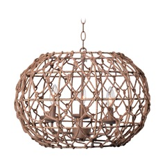 Kenroy Home Torus Tan Pendant Light with Oblong Shade