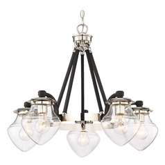 Mid-Century Modern Chandelier Polished Nickel W/Black Highlights The Cape by Minka Lavery