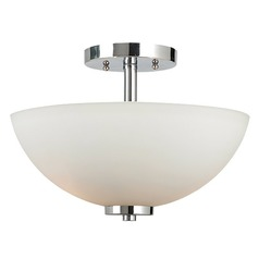 Modern Semi-Flushmount Light with White Glass in Chrome Finish
