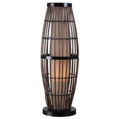 Kenroy Home Lighting Outdoor Table Lamp with Rattan Cage and Tan Shade 32247RAT
