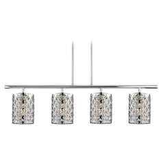Linear Pendant Light with 4-Lights and Crystal Metal Shades in Chrome Finish
