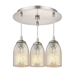 3-Light Semi-Flush Ceiling Light with Mercury Dome Glass - Nickel Finish