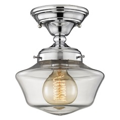 8-Inch Chrome Clear Glass Schoolhouse Semi-Flushmount Light