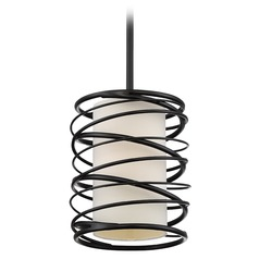 Quoizel Lighting Spiral Mystic Black Mini-Pendant Light with Cylindrical Shade