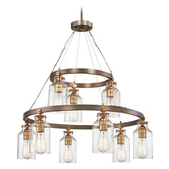 Edison Bulb Chandelier Bronze w/ Gold Highlights 32-Inch by Minka Lavery
