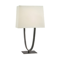 Modern Table Lamp with White Shades in Black Brass Finish