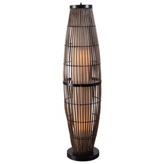 Floor Lamp with Brown Shade in Rattan Finish