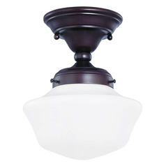 8-Inch Schoolhouse Semi-Flush Ceiling Light in Bronze Finish