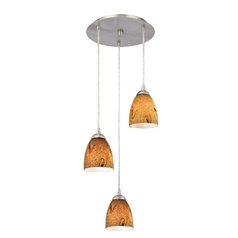 Design Classics Lighting Modern Multi-Light Pendant Light with Brown Art Glass and 3-Lights 583-09 GL1001MB