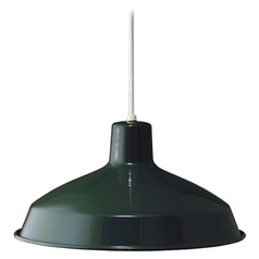 Farmhouse Barn Light Pendant Green Metal Shade by Progress Lighting