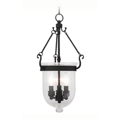 Seeded Glass Pendant Light Black Livex Lighting