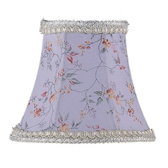 Livex Lighting S274 Sky Blue Floral Print Bell Lamp Shade with Clip-On Assembly