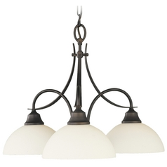 Feiss Modern 3-Light Chandelier with White Glass in Oil Rubbed Bronze