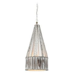 Dimond Pennant Point Washed Wood Pendant Light with Drum Shade