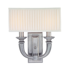 Sconce Wall Light with White Shades in Historic Nickel Finish