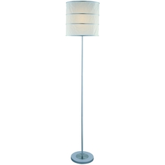 Floor Lamp with White Glass in Polished Steel Finish