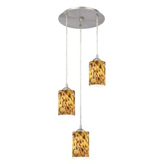 Design Classics Lighting Modern Multi-Light Pendant Light with Brown Art Glass and 3-Lights 583-09 GL1005C