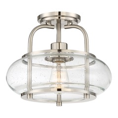 Seeded Glass LED Semi-Flushmount Light Brushed Nickel Quoizel Lighting