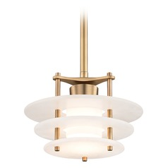 Hudson Valley Lighting Gatsby Aged Brass LED Pendant Light with Cylindrical Shade