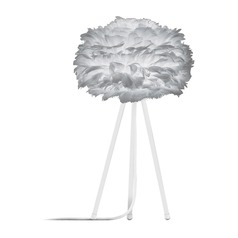 UMAGE White Table Lamp with Grey Feather Shade